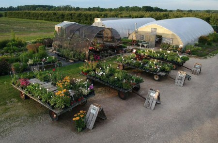 Barthel green houses and orchards with four trailers carrying various plants